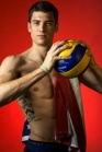 USA volleyball player Matt Anderson is the new, young star on a team of veterans, who are also the reigning Olympic champions. He is also dealing with the loss of his father and got a tattoo in memory of his dad on the side of his right rib cage. ///ADDITIONAL INFO.01.anderso.0506.mg - 04/30/2012 - Photo by MICHAEL GOULDING,THE ORANGE COUNTY REGISTER - Additional info, CQs, and keywords for searching: US men's volleyball star Matt Anderson for either that same Sunday or a day or two earlier or later. This profile will set up the Olympic qualifying tournament in Long Beach May 7-12.